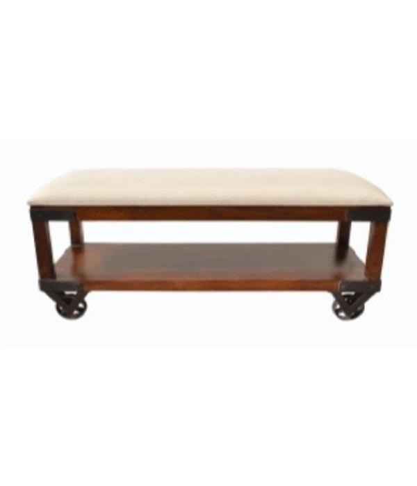 Pink City Industries Industrial Cart Shoe Bench Mango Chestnut Milano 104