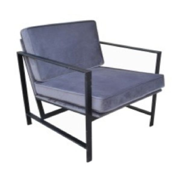 Iron Crushed Blue Grey Velvet Chair Big Iron Black