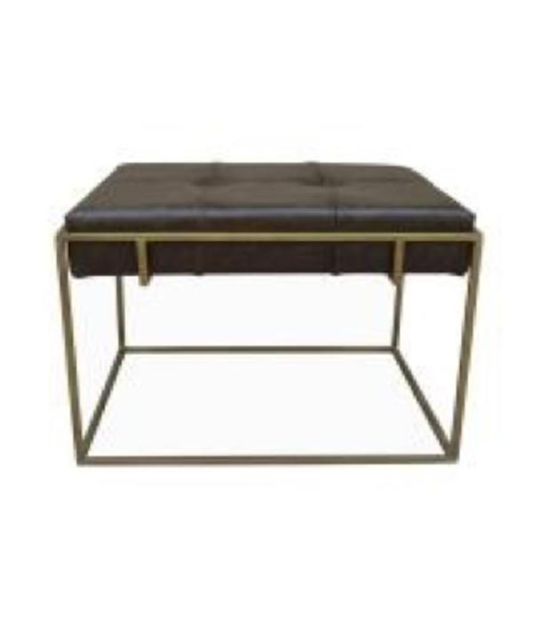 Fox & Roe Chehoma Leather Ottoman Iron Leather Antique Gold Fountain