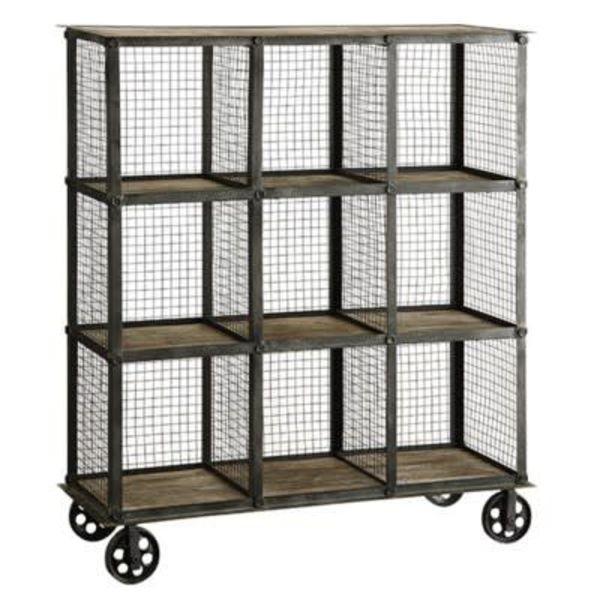 Industrial Metal and Wood Bookcase CVFZR1004