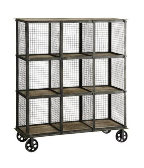 Crestview Industrial Metal and Wood Bookcase CVFZR1004