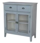 Crestview Rowley Powder Blue and Metal Cabinet CVFZR3660