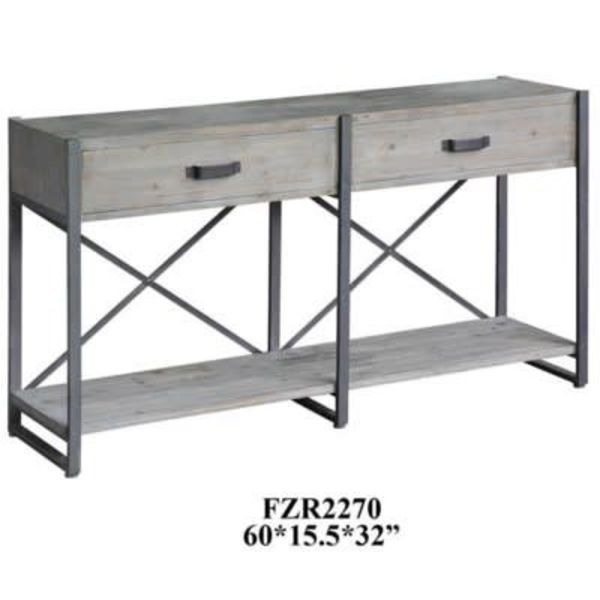 Iron Junction 2 Drawer Metal Wood Rustic Console CVFZR2270