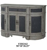 Crestview Barrington 1 Drawer / 4 Raised Panel Door Credenza in 2 Tone Textured Grey Finish