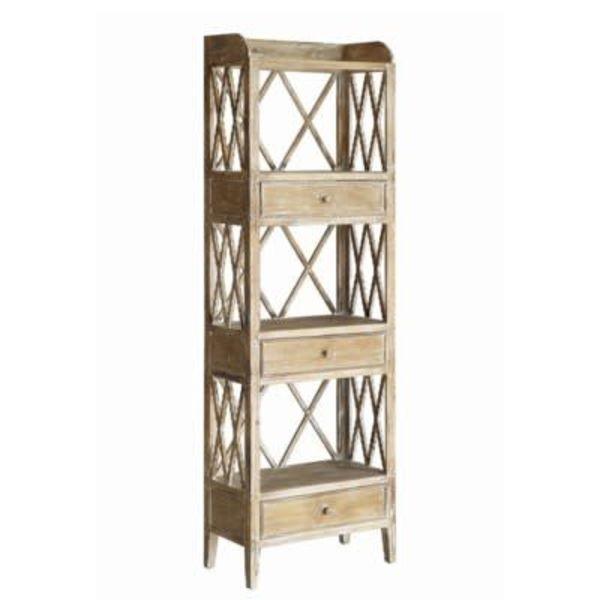 Carlisle Rustic Wood 3 Drawer Tall X Storage Shelf CVFZR1712