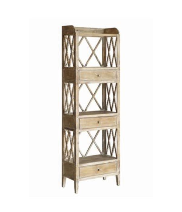 Crestview Carlisle Rustic Wood 3 Drawer Tall X Storage Shelf CVFZR1712