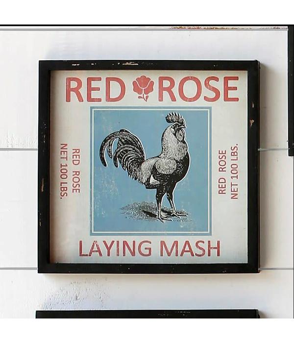 Park Hill Framed Feedsack Red Rose Mash IM6524