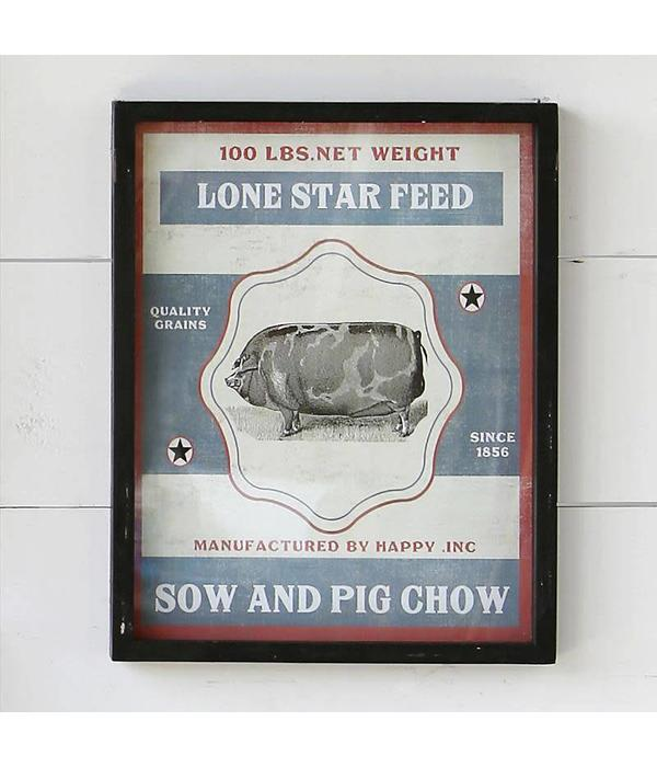 Park Hill Framed Feedsack Pig Chow IM6531