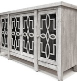 Farmhouse by Head Springs Depot Farmhouse Console 4 Doors with Glass Apsen Gray (A) LN-CON-580AG-ASPGY