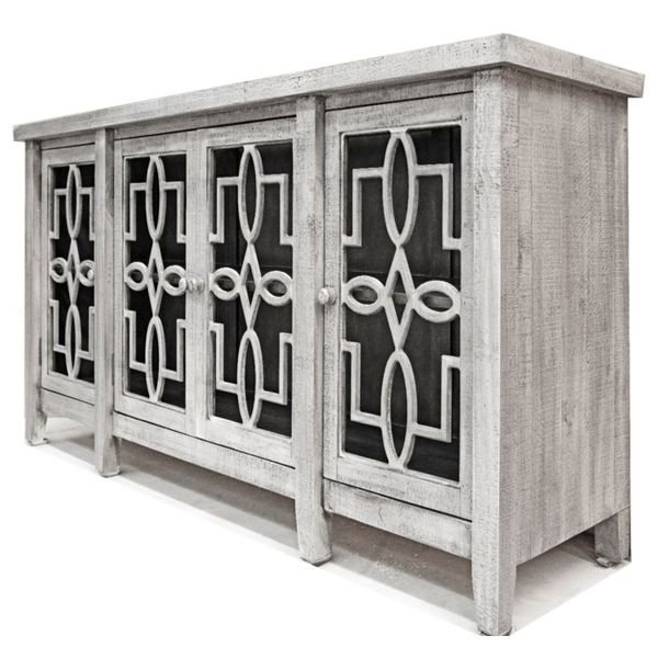 Farmhouse Console 4 Doors with Glass Apsen Gray (A) LN-CON-580AG-ASPGY