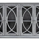 Farmhouse by Head Springs Depot Farmhouse Console 4 Doors with Mirrors Nero White with Traditional Medium Doors (A) LN-CON-581BM-NWTM