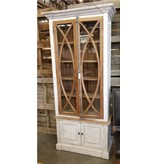 Farmhouse by Head Springs Depot Farmhouse Tall Vitrine with Glass Nero White with Traditional Medium Doors (A) LN-VIT-585-BG-NWTM