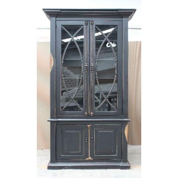 Farmhouse Tall Vitrine with Glass Doors Nero Gray with Lite Doors (A) LN-VIT-585-BG-NGY