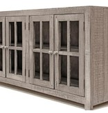 Farmhouse by Head Springs Depot Farmhouse Console 4 Doors with Glass and Decorative Hinges (A)