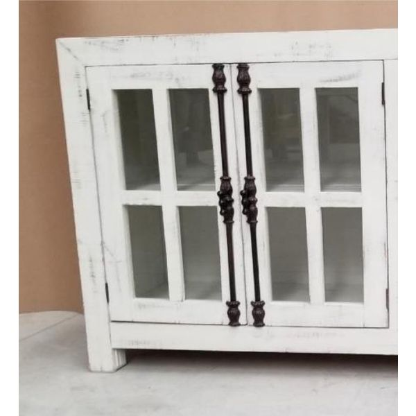 Farmhouse Console 2 Doors with Glass and Decoratiave Hinges (A)