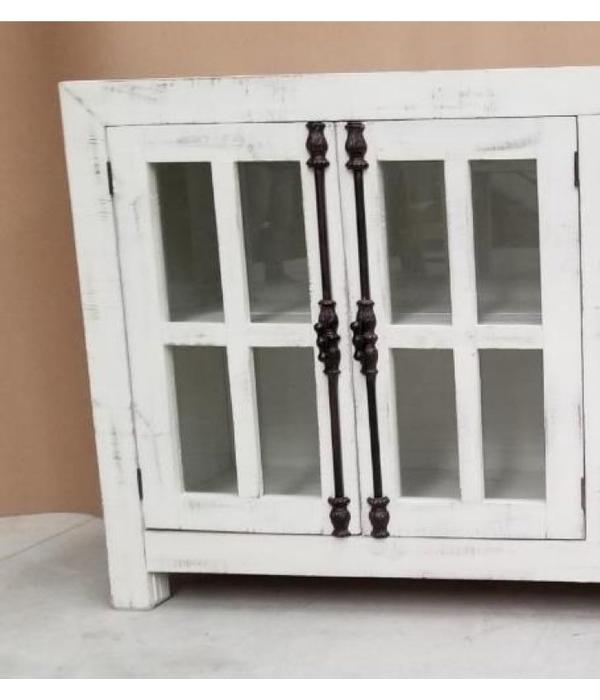 Farmhouse by Head Springs Depot Farmhouse Console 2 Doors with Glass and Decoratiave Hinges (A)