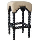 Pink City Industries Bobbin Leg Bar Stool Black Paris Linen Fabric