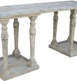 Pink City Industries Double Pedestal Console Burnt White