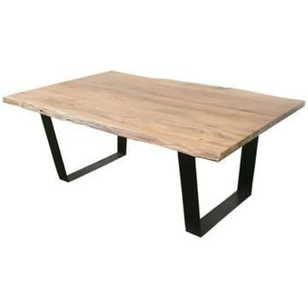 Bengal Manor Iron and Live Edge Natural Acacia Wood Rectangle Cocktail Table CVFNR545
