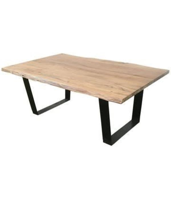 Crestview Bengal Manor Iron and Live Edge Natural Acacia Wood Rectangle Cocktail Table CVFNR545