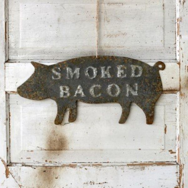 Embossed Metal Smoked Bacon Sign