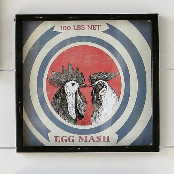 Framed Feedsack Egg Mash IM6525
