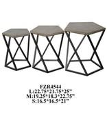 Crestview Grant Metal / Wood Pentagon 3 Table Set CVFZR4544