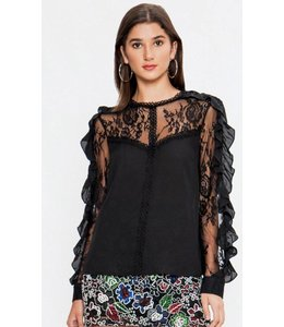 FT Lace Peasant Top 7935