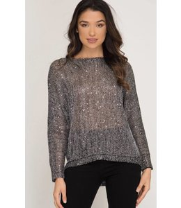 SS Long Sleeve Sweater Sequin Top 8181