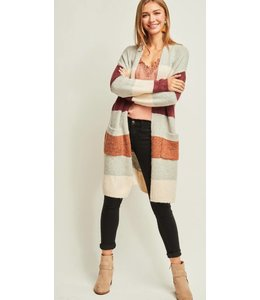 ETO Color Block Stripped Cardigan 11228