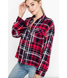 LSH Plaid Button Down 13728