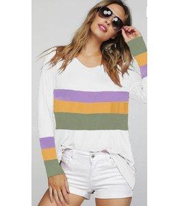 BB Mardi Gras Stripe Sleeve Top 8529