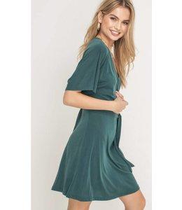 LSH Waist Tie V-Neck Dress 95677