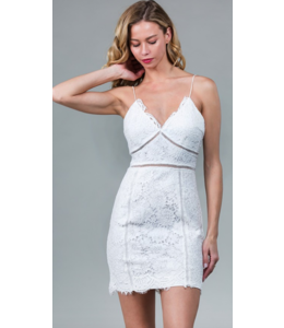 MN White Lace Cut Out Dress 9859