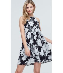 pm Floral High Neck Tie Up Dress 6440