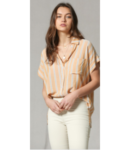 BT Striped Button Down Collar Top 2827