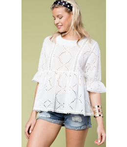 MS Embroidered Tunic Ruffle Sleeve Top 30532