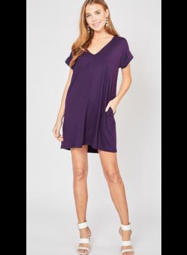 EO V-Neck Cuffed Sleeve Dress 4576