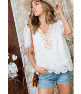 MS Embroidered Tulip Sleeve Top 31081