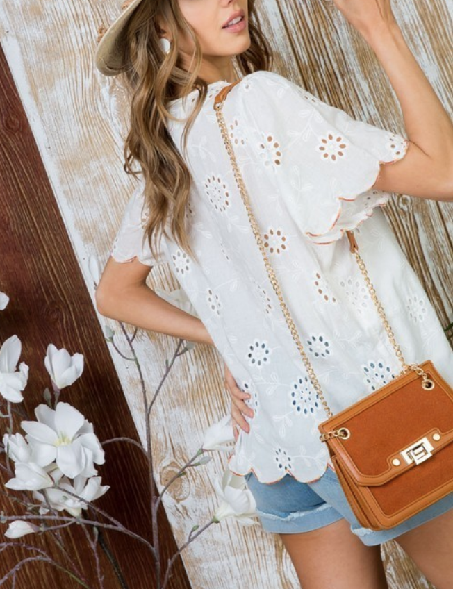 63aed5abe17 Embroidered Tulip Sleeve Top - Shoe Shi Boutique