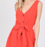 EE Sleeveless Button Front Romper 3109