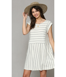 BT Striped Cap Sleeve Dress 1279