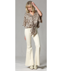 BT Leopard V-neck Satin Front Tie Top 1306