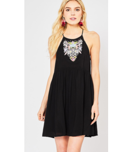 EO Embroidered High Neck Dress 11704