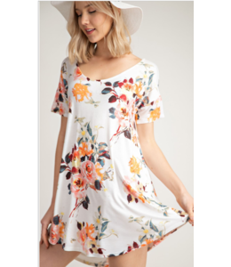 MA Short Sleeve Floral Dress 6060