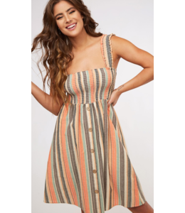 PLC Smocked Top Striped Dress 73604
