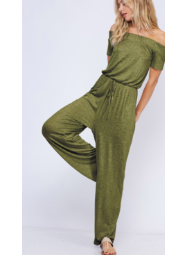 FF Thick Elastic Off Shoulder Jumpsuit 91002