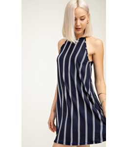 MA Striped Halter Neck Dress 6193