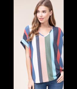 EO Oversized Striped V-Neck Top 5006