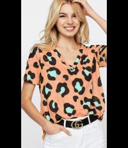 BB Leopard Print V-Neck Top 1021